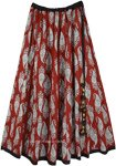 Majestic Maroon Paisley Printed Cotton Festival Skirt