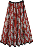 Majestic Maroon Paisley Printed Cotton Festival Skirt
