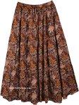 Brown Tribal Vibes Printed Cotton Long Skirt
