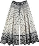 Elephant Print Wide Leg Cotton Pants in Black and White