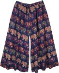 XXL Navy Cotton Palazzo Pants with Elephant Print