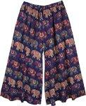 XXL Navy Cotton Palazzo Pants with Elephant Print