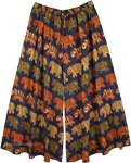 XXL Plus Royal Blue Split Skirt Pants with Elephant Print