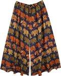 XXL Plus Royal Blue Split Skirt Pants with Elephant Print