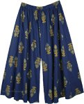 Plus Size Flared Palazzo Cotton Pants in Indigo Blue