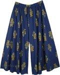 Plus Size Flared Palazzo Cotton Pants in Indigo Blue