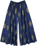 Royal Blue Full Flare Wide Leg Printed Palazzo Pants