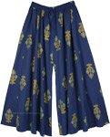 Royal Blue Full Flare Wide Leg Printed Palazzo Pants