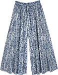 Cotton Printed White and Blue Palazzo Pants with Pocket