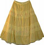 Embroidered Light Yellow Long Skirt
