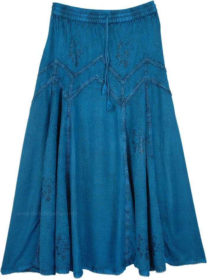 Trendy Teal Long Western Country Skirt