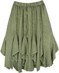 Olive Green Mid Length Western and Gored Skirt