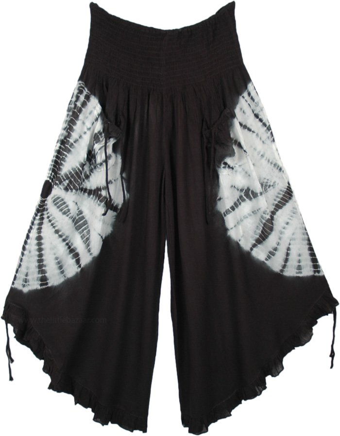 Black Tie Dye Crop Pants with Adjustable Wide Legs