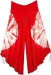 Red Tie Dye Crop Pants Adjustable Wide Legs
