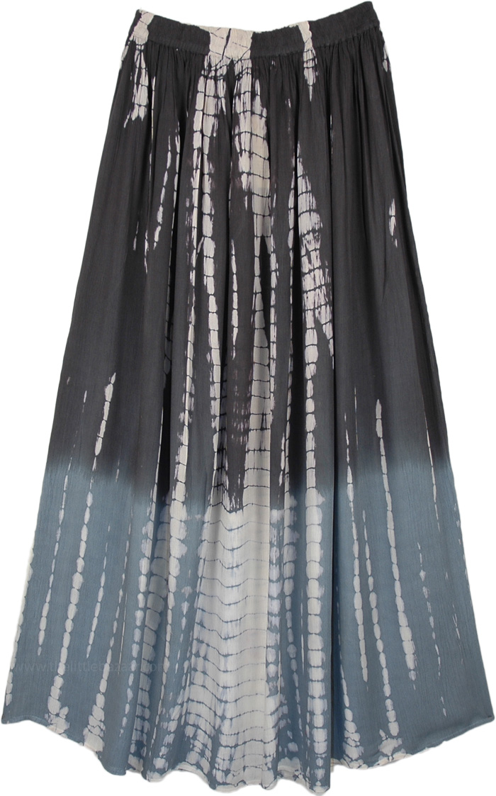 Grey Ombre Tie Dye Carefree Extra Long Skirt