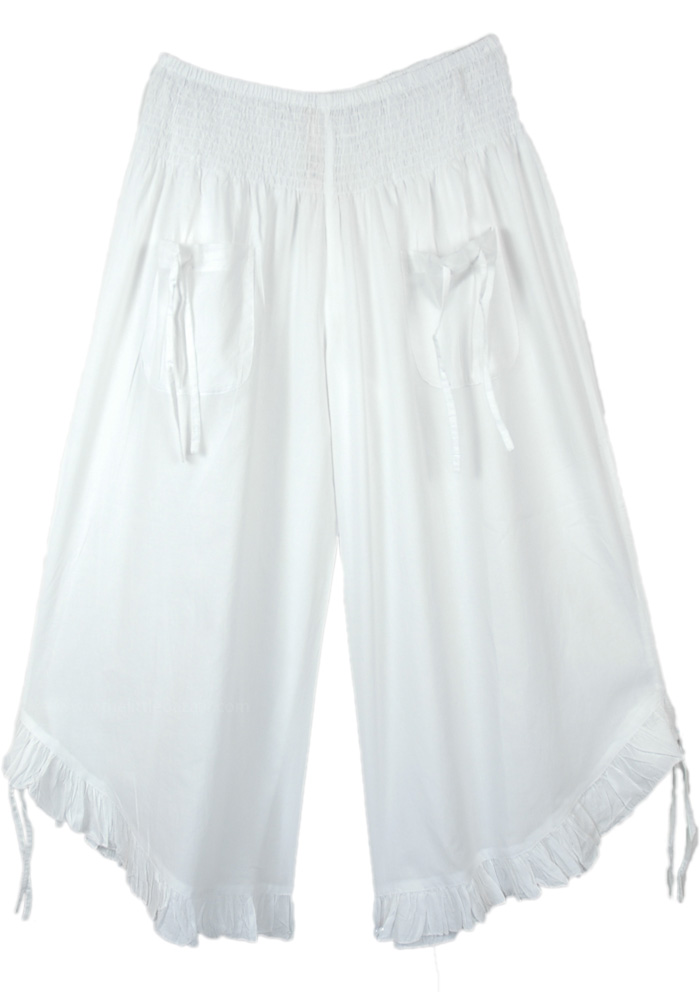 Pure White Summer Pants with Adjustable Wide Legs