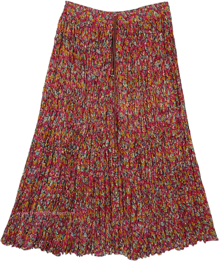 Multicolored Floral Cotton Skirt in Crinkled Fabric