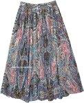 Paisley Printed Crinkled Cotton Summer Skirt