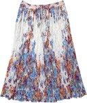 Snow Flowers Crinkled Cotton Long Skirt