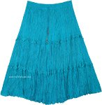 Aqua Green Blue Mid Length Tiered Cotton Skirt