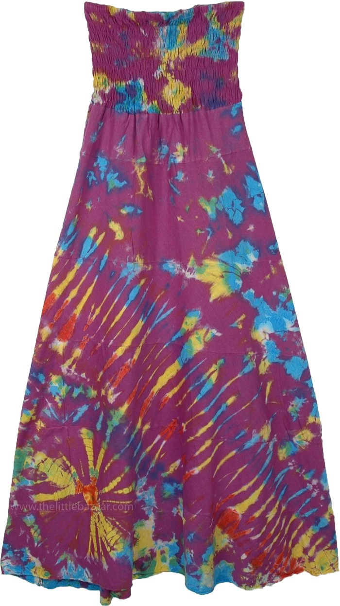 Purple Cotton Skirt Dress with Hippie Tie Dye