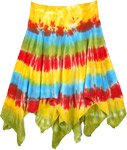 Asymmetrical Bohemian Double Layer Skirt in Colorful Yellow