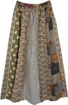 Beige Love Vertical Patchwork Tribal Long Skirt