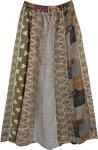 Beige Love Vertical Patchwork Tribal Long Skirt