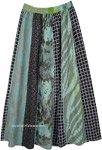 Sea Green Vertical Panels Patchwork Long Skirt