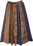 Boho Mixed Print Vertical Patchwork Long Skirt