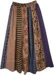 Boho Mixed Print Vertical Patchwork Long Skirt