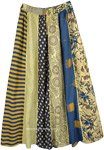 Egyptian Straw Mixed Prints Vertical Patchwork Skirt