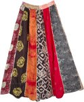 Tribal Prints Vertical Patchwork Boho Pleated Skirt