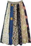 Long Linear Printed Skirt in Multi Patch Work