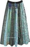 Blue Hues Summer Vertical Patchwork Boho Long Skirt