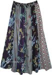 Blue Tones Floral Patchwork Boho Long Skirt
