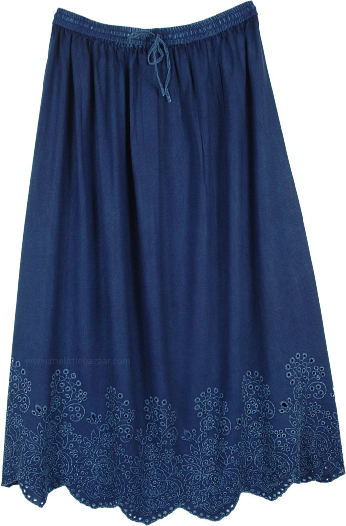 Deep Blue A-Line Skirt with Eyelet Bottom