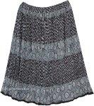 Floral Printed Cotton Mid Length Full Crinkle Skirt