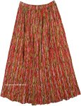 Red Rain Crinkled Cotton Summer Long Skirt