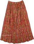 Red Rain Crinkled Cotton Summer Long Skirt