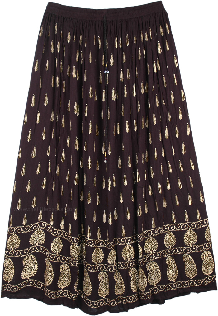 Deep Black Gold Painted Rayon Long Skirt