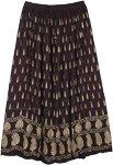 Deep Black Gold Painted Rayon Long Skirt