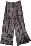Grey Flame Tie Dye Front Slit Rayon Trousers