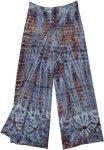 Spooky Blue Tie Dye Front Slit Rayon Trousers