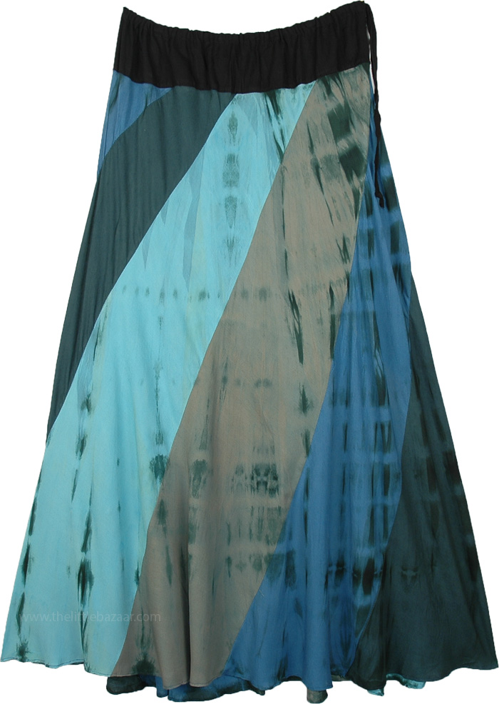 Malibu Tie Dye Ankle Length Skirt with Drawstring Waist