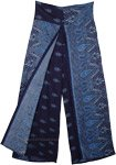 Navy Blue Paisley Printed Split Front Rayon Pants