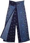 Navy Blue Paisley Printed Split Front Rayon Pants