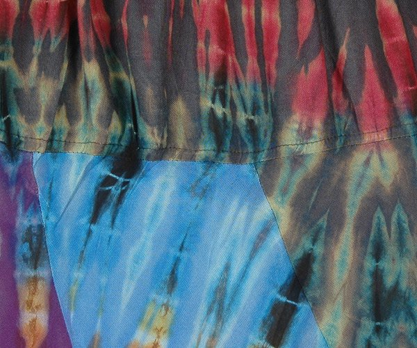 Multicolor Tie Dye Patchwork Flowy Soft Fabric Long Skirt