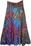 Multicolor Tie Dye Patchwork Flowy Soft Fabric Long Skirt