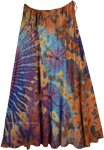 Tie Dye Island Multicolored Rayon Long Skirt